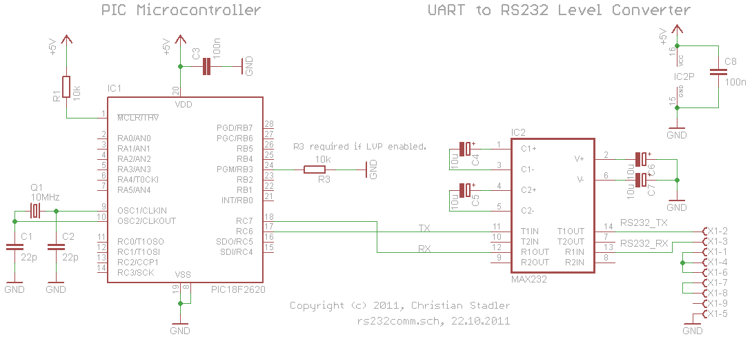 RS232 Communication with PIC Microcontroller Schematic