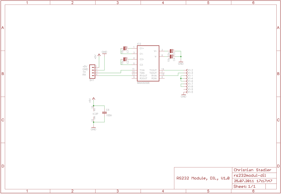 RS232 Module, DIL (RS232/TTL Level Converter) Schematic